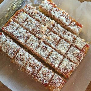 Raspberry and Coconut Squares