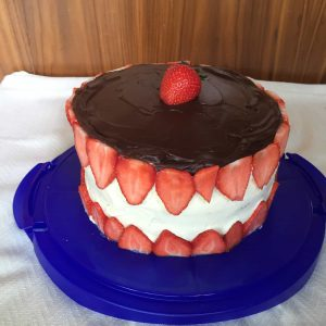 Strawberry Cake, with a ganache top