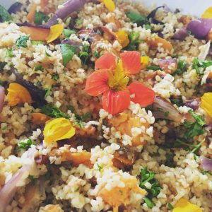 Roasted Sweet Potato and Red Onion with Bulgar and herbs