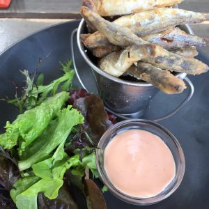 Whitebait with fresh salad and marie rose sauce