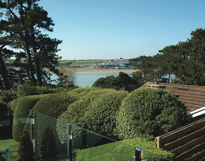 The far reaching view over the Camel estuary from the first floor balcony at Lyonesse in Rock, North Cornwall