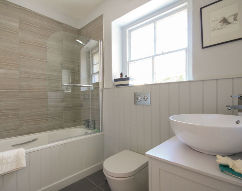 The family bathroom at Westray House, a self catering holiday house in Polzeath, North Cornwall.