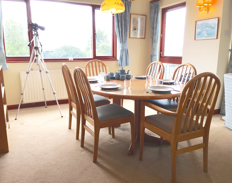 The dining area in Chy An Fos, a self catering holiday house to rent in Rock, North Cornwall.