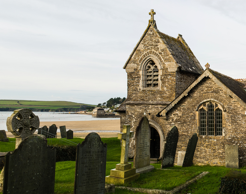 A view of St Michael's church and Porthilly beach, nearby to Little Tides, a holiday rental in Rock, Cornwall