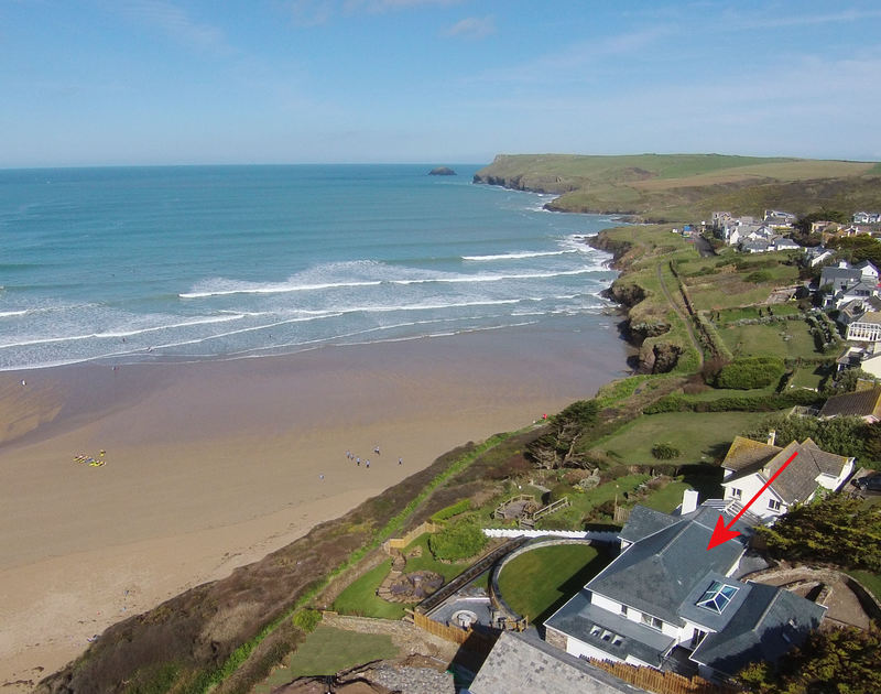 The aerial view of The White House, a fantastic, cliff top self catering holiday house with stunning sea views in New Polzeath on the North Cornish coast.