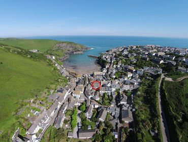 Aerial view of Brakestone Cottage in the pretty fishing village of Port Isaac, Cornwall