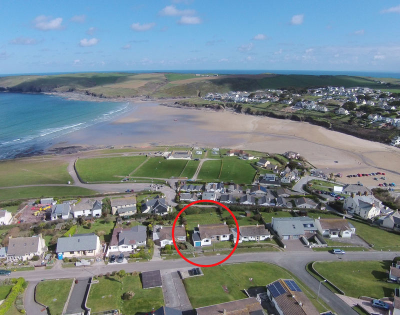 An aerial shot of the stunning location of Zapadiah, holiday accommodation at Polzeath, Cornwall