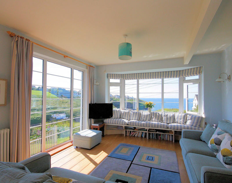 Lovely views from the light, spacious open-plan sitting area of Cartway Cove, holiday house in Port Gaverne, Cornwall