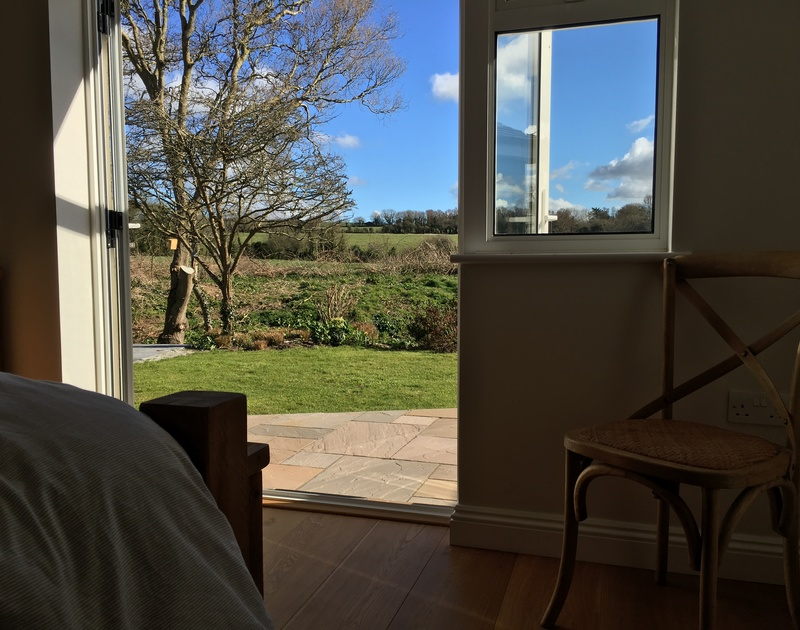 Rural views from Chy-An-Dowr, a stylish holiday house to rent in Rock, Cornwall.