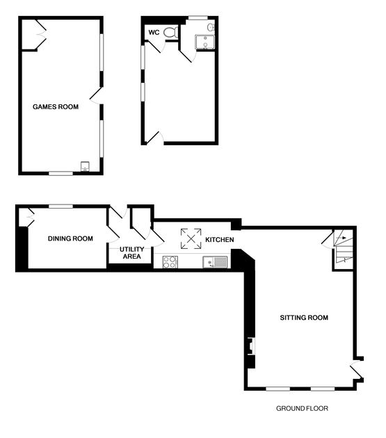 The ground floor plan of Quay Cottage, a harbourside, self-catering holiday house in Port Isaac, Cornwall