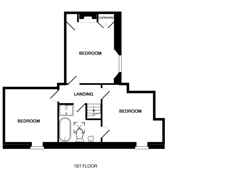 The first floor plan of Rose Cottage, a holiday cottage in Port Isaac, Cornwall, with its 3 bedrooms and bathroom.