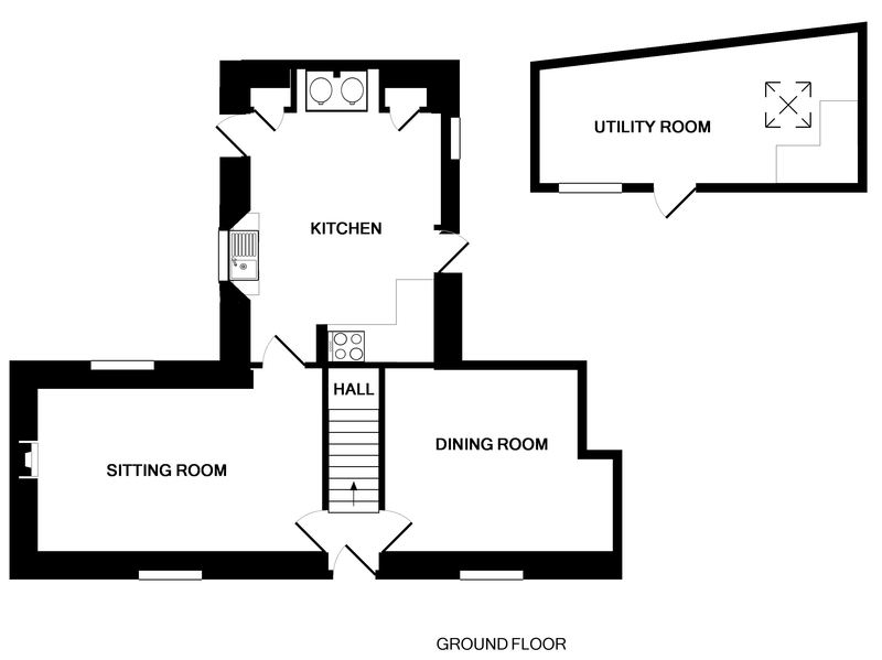 The ground floor plan of Rose Cottage, a self-catering holiday cottage in Port Isaac, Cornwall