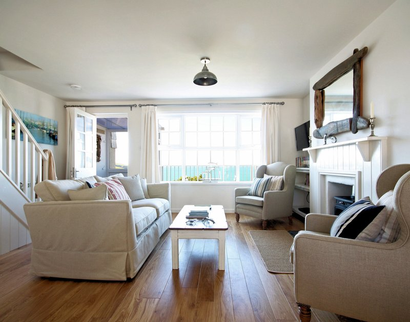Tastefully furnished and decorated sitting room in Castaway, a self catering holiday rental in Port Isaac, Cornwall.