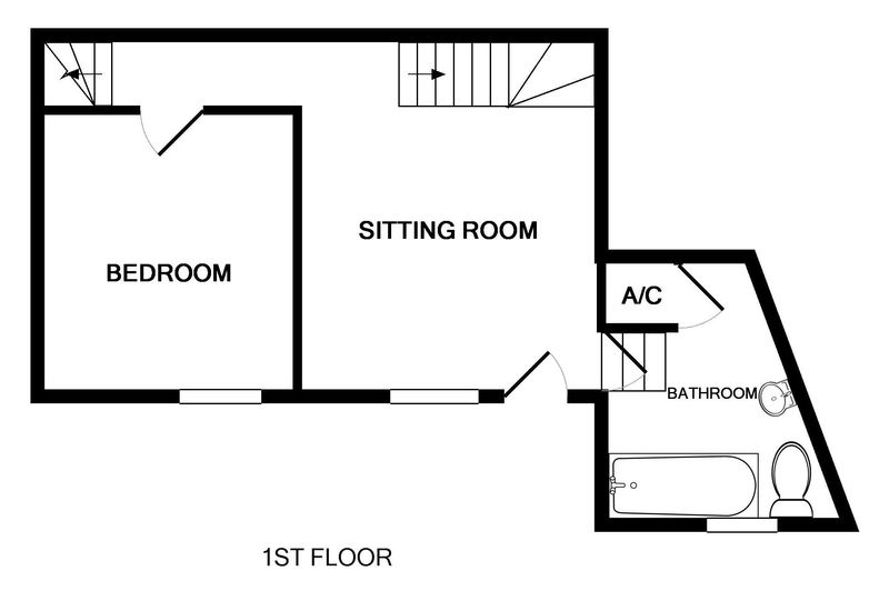 First floor plan for self catering holiday cottage St Samson, yards from the harbour at Port Isaac, North Cornwall.