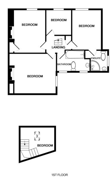 The first floor plan of Morwenna, a self-catering holiday house in Port Isaac, Cornwall