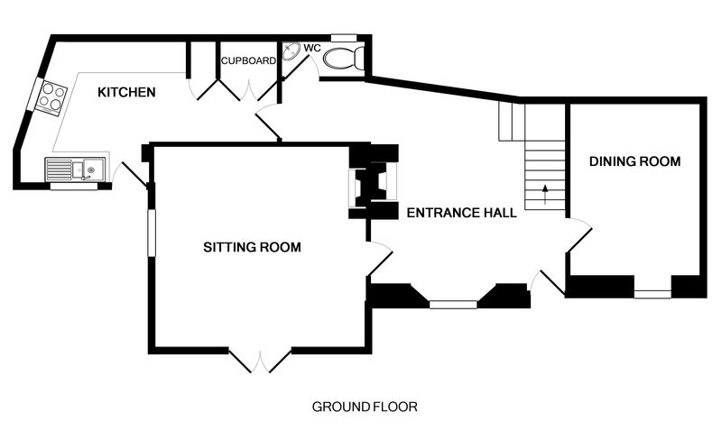 The ground floor plan for Mermaid Cottage, a self catering holiday rental in Port Isaac, Cornwall.