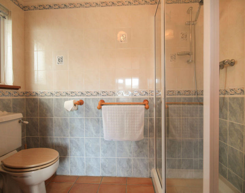 Ensuite fully-tiled shower room of Haven Cottage, a holiday cottage in Port Isaac, Cornwall