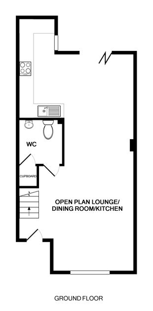 The ground floor plan of Seaspray, a self-catering holiday house in Port Isaac, Cornwall