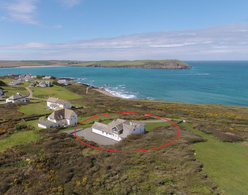 An aerial view of Splits, a coastal, self-catering holiday house to rent near Daymer Bay, Cornwall