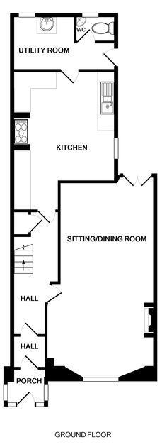 The ground floor plan for Seaward, a self catering holiday house to rent in Port Isaac in North Cornwall.