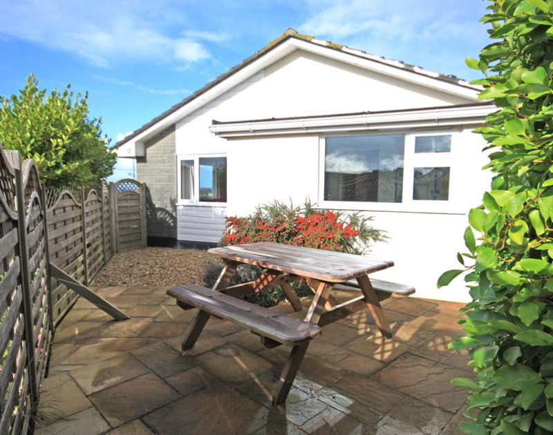 The sheltered, sunny and private patio at Sunnybank, self catering holiday accommodation in picturesque Port Isaac in North Cornwall.