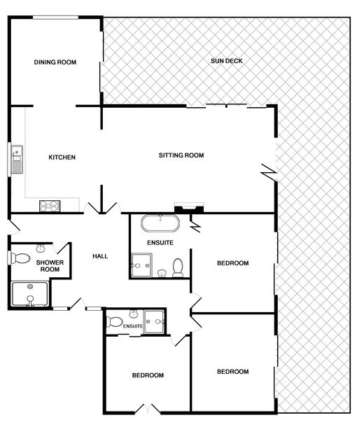 The floor plan of The Terrace, a luxury self-catering holiday house in Port Isaac, Cornwall
