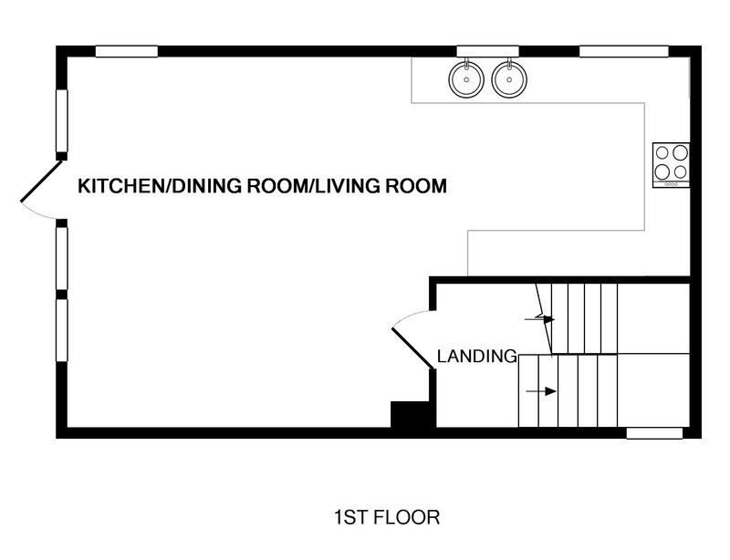 The first floor plan of Derowen, a holiday house in Port Isaac, Cornwall, with its open plan living space.