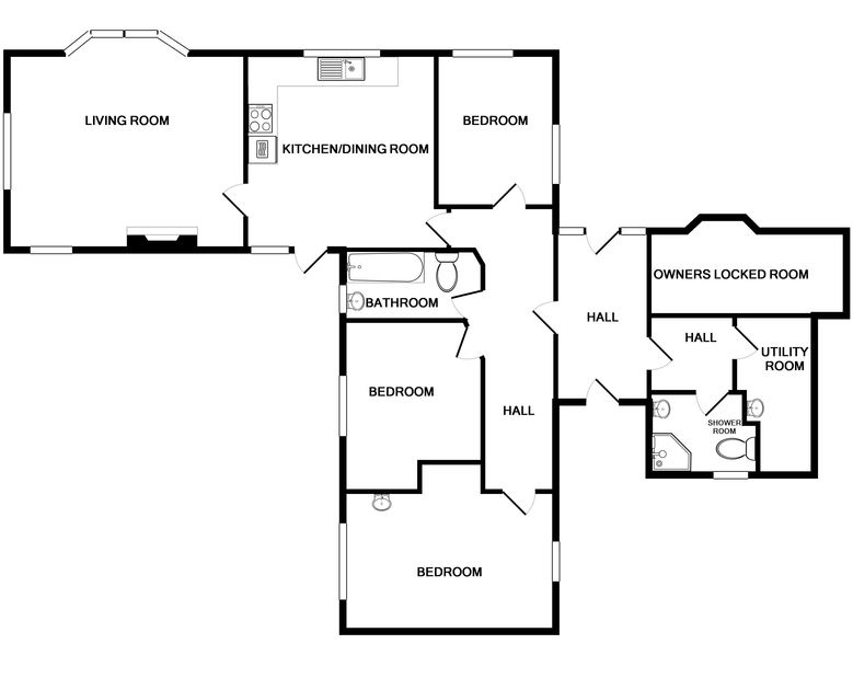 The ground floor plan for Maylands, a self catering holiday rental in a quiet spot above Port Gaverne near Port Isaac in North Cornwall.