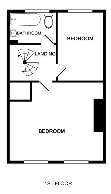 First floor plan of Dolphin Cottage in Port Isaac showing all first floor rooms