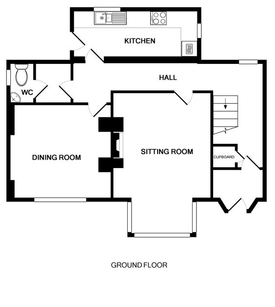 Ground floor plan of self catering holiday rental Folly 1, Port Isaac, Cornwall showing all ground floor rooms