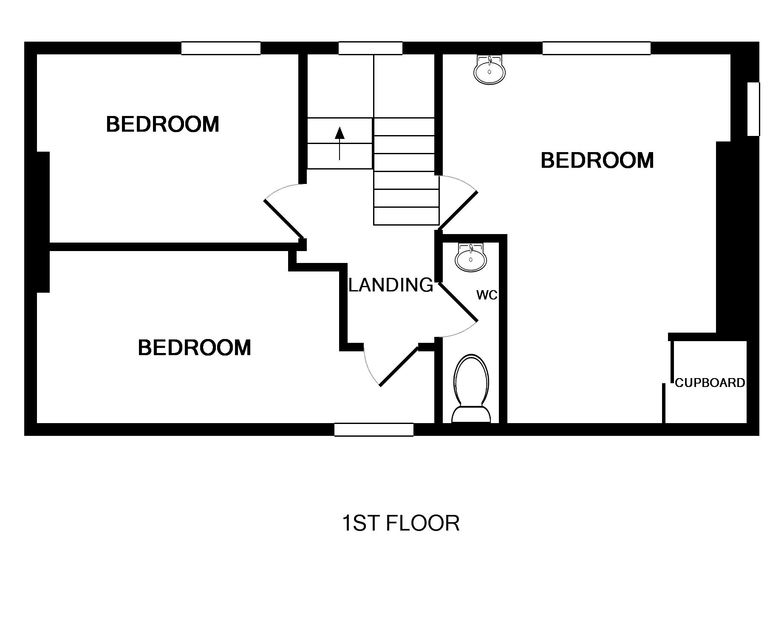 First floor plan for Northcliffe, a self catering holiday house to rent in Port Isaac, Cornwall.