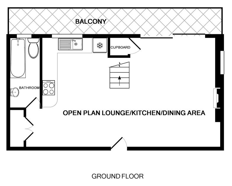 The ground floor plan for Northcliffe, a self catering holiday house to rent in Port Isaac, Cornwall.