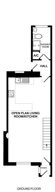 The ground floor plan for The Mizzen, a holiday rental in Port Isaac, Cornwall.