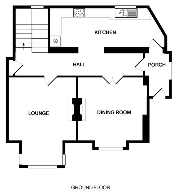 The ground floor plan of Folly 2, a self-catering holiday house in Port Isaac, Cornwall