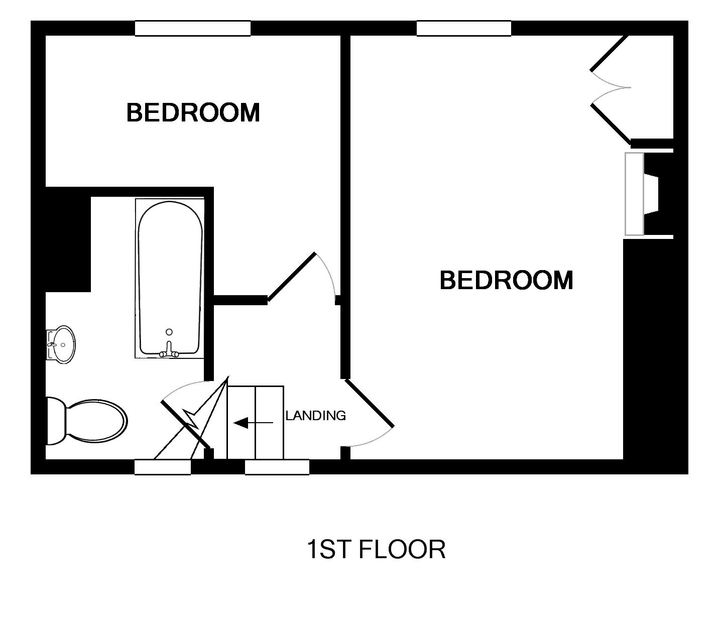 The first floor plan of Malahne, a holiday apartment in Port Isaac, Cornwall, with its two bedrooms and bathroom.