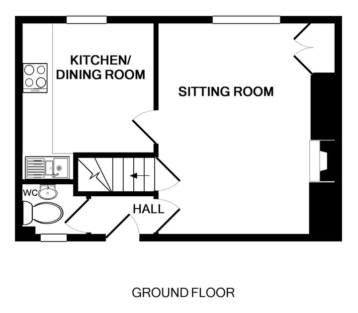 The ground floor plan of Malahne, a self-catering holiday apartment in Port Isaac, Cornwall