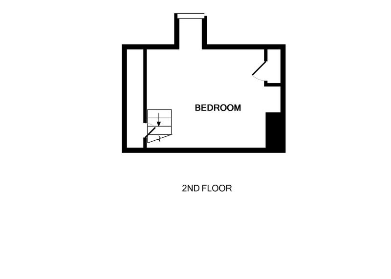 The second floor plan showing the single attic bedroom in 22, Church Hill a holiday rental in Port Isaac, North Cornwall.