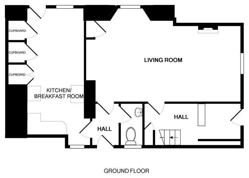The ground floor plan for 22, Church Hill a family holiday property to rent in Port Isaac, Cornwall.