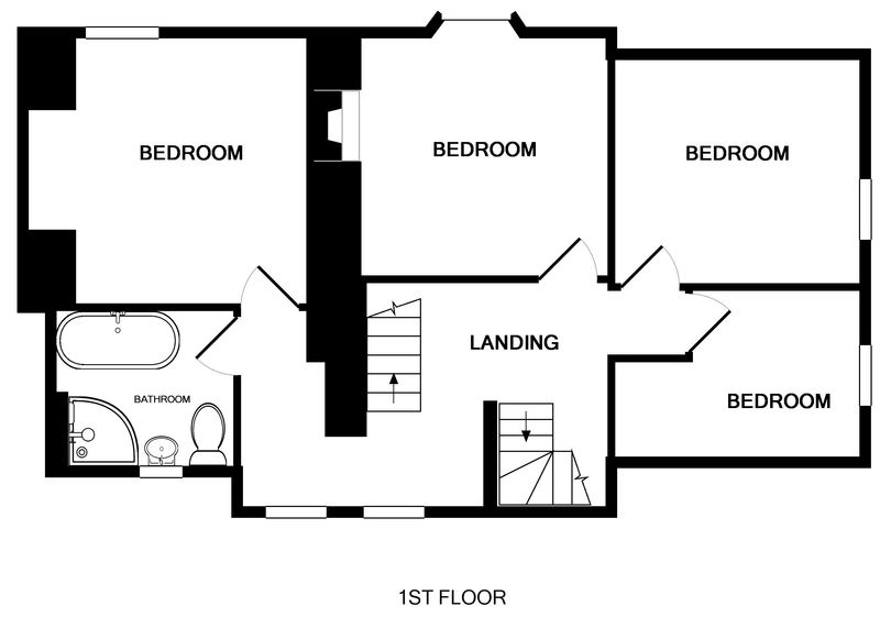 The first floor plan for 22, Church Hill a self catering holiday house to rent in Port Isaac, Cornwall.