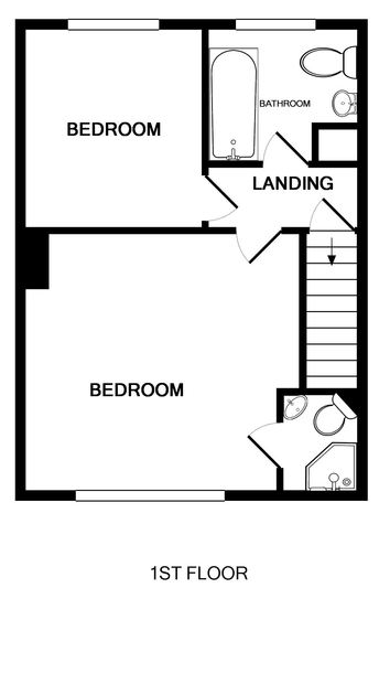 The first floor plan for Castaway, a luxury self catering holiday retreat in Port Isaac, North Cornwall.