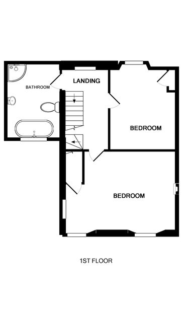 The first floor plan of Fronthill House, a holiday house in Port Isaac, Cornwall, with its two bedrooms and wetroom.