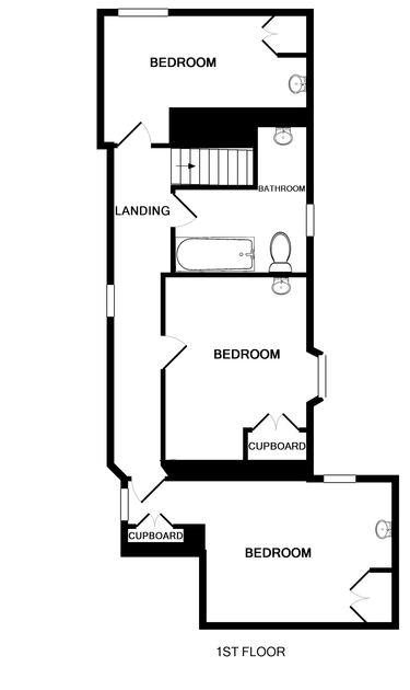 The first floor plan of Brook Cottage, a self-catering holiday house in Port Isaac, Cornwall