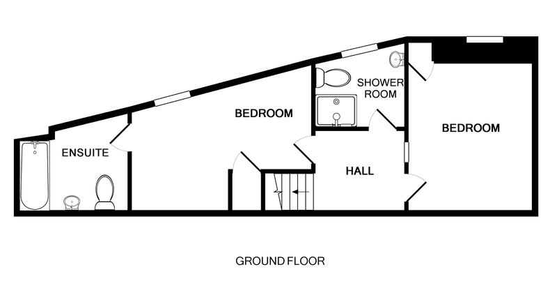 The ground floor plan for First and Last, a self catering holiday house to rent in Port Isaac, North Cornwall.