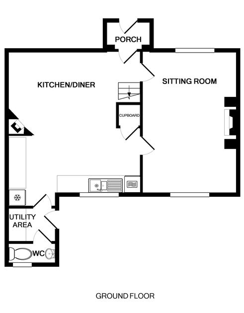 The ground floor plan for Coastguard Cottage 3, a family holiday house on the cliff above Port Isaac in North Cornwall.