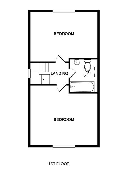 The first floor plan of Haven Cottage, a self-catering holiday house in Port Isaac, Cornwall