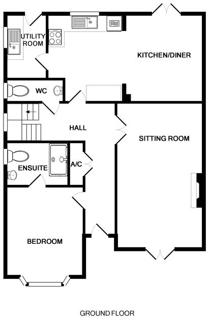 The ground floor plan of Haven Cottage, a self-catering holiday house in Port Isaac, Cornwall