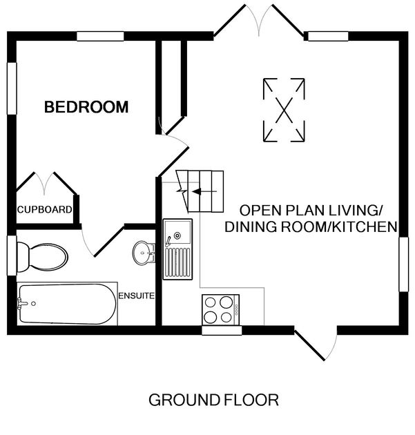 The ground floor plan for Cartway Cabin, a self catering holiday rental in Port Gaverne near Port Isaac in Cornwall.