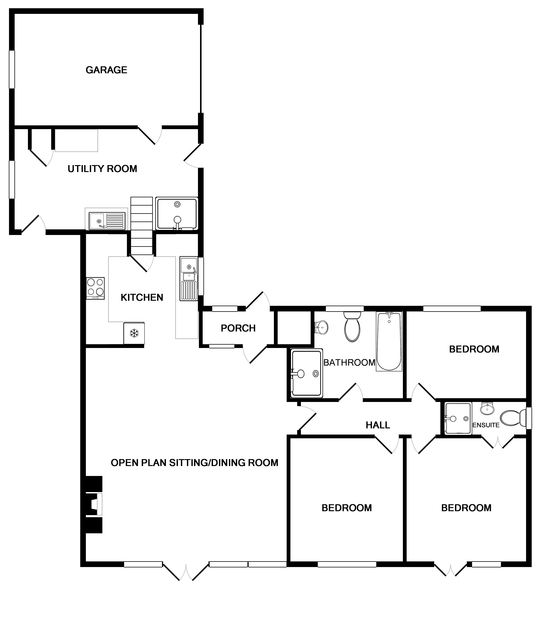 Ground floor plan of Pebblestones, a self-catering holiday cottage in Port Isaac, Cornwall