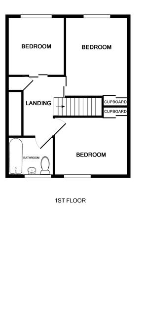 The first floor plan of 3 Overcliff, a holiday house in Port Isaac, Cornwall, with its 3 bedrooms.