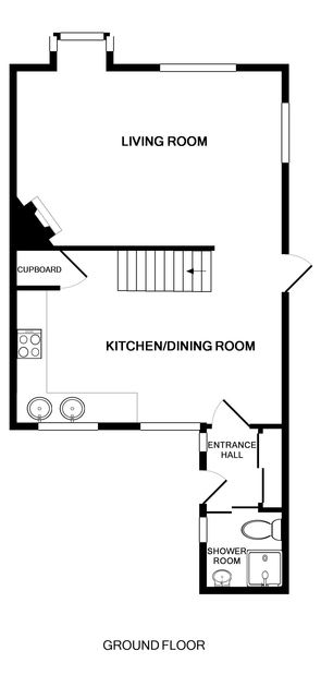 The ground floor plan of 3 Overcliff, a self-catering holiday house in Port Isaac, Cornwall